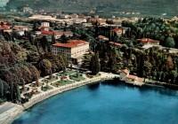 Cartolina storica con emergenze architettoniche: Lido Palace e Villa Miralago