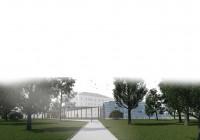 Ingresso al parco con serre, percorso coperto e Villa Miralago